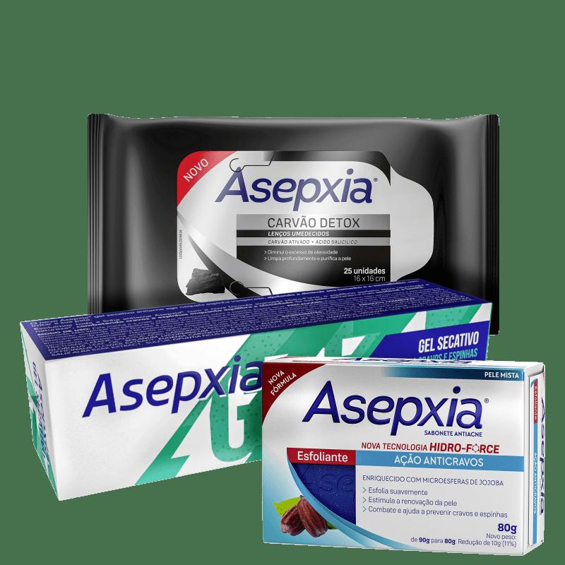 Kit Asepxia Anticravos + Antiacne + Carvão Detox (3 Produtos)