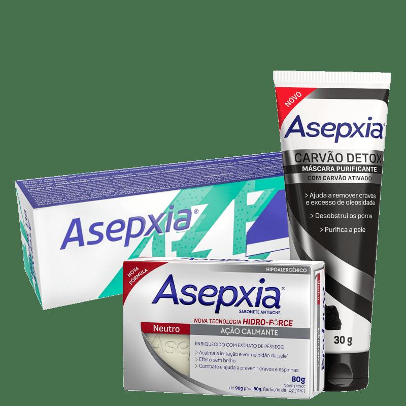 Kit Asepxia Antiacne + Carvão Detox (3 Produtos)