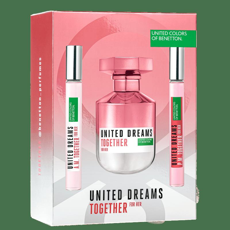 Conjunto United Dreams Together for Her Benetton - Eau de Toilette 80ml + Booster Diurno 10ml + Booster Noturno 10ml