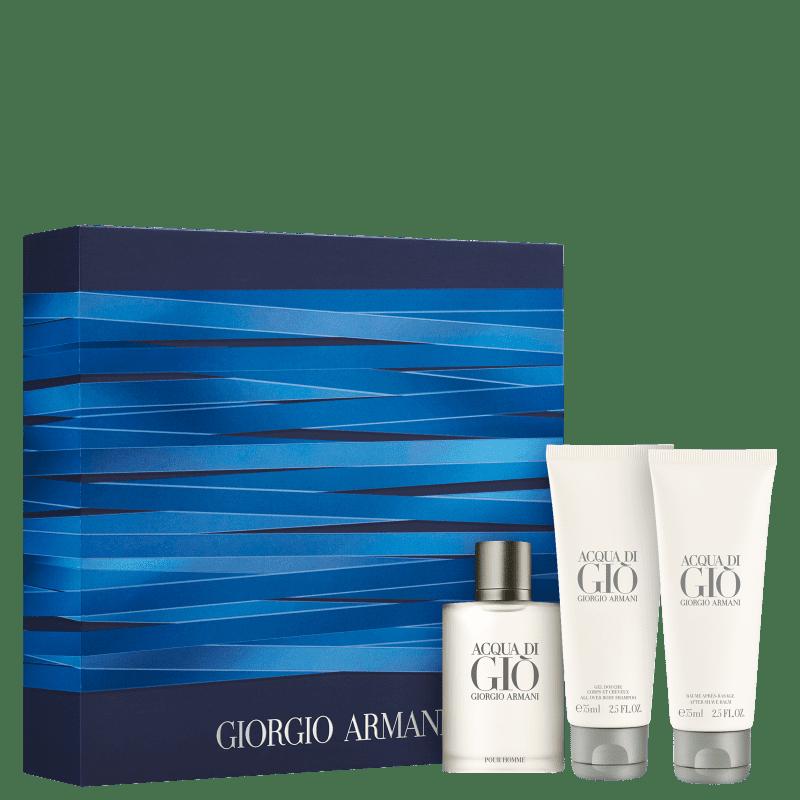 Conjunto Acqua di Giò Giorgio Armani Masculino - Eau de Toilette 50ml + Gel de Banho 75ml + Pós-Barba 75ml