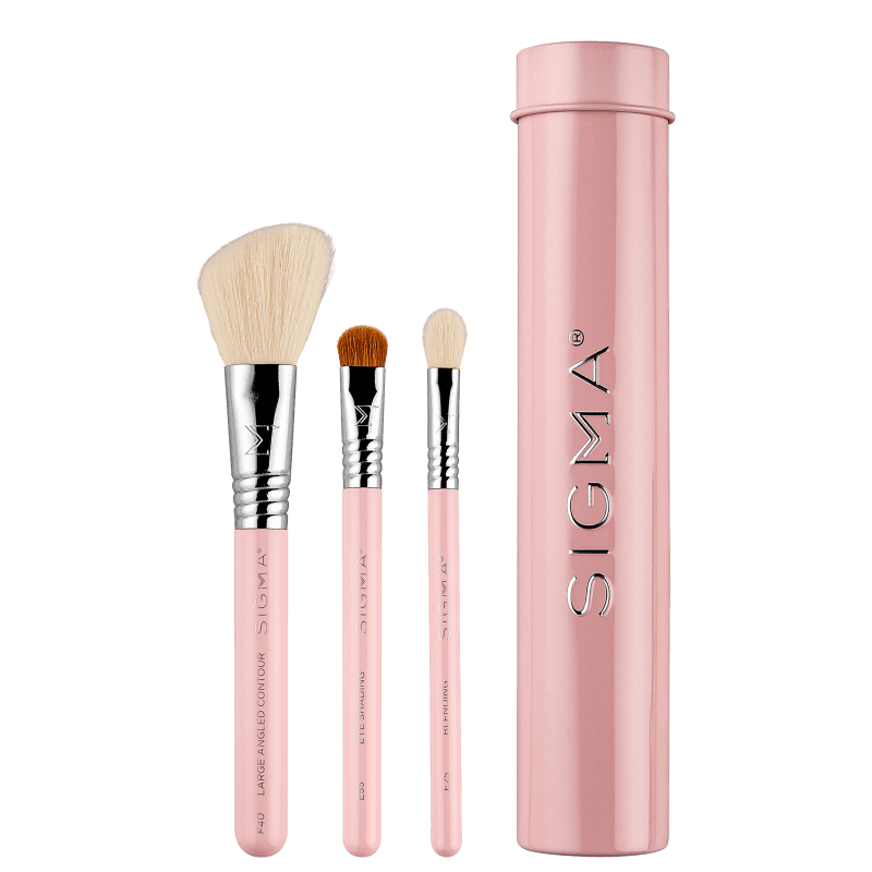 Kit de Pincéis Sigma Beauty Essential Trio Brush Set Pink (3 Produtos)