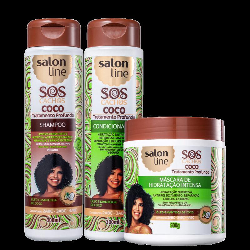 Kit Salon Line S.O.S Cachos Coco Trio (3 Produtos)