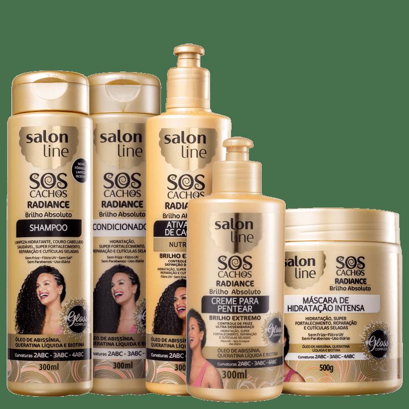 Kit Salon Line S.O.S Cachos Radiance Brilho Absoluto Full (5 Produtos)
