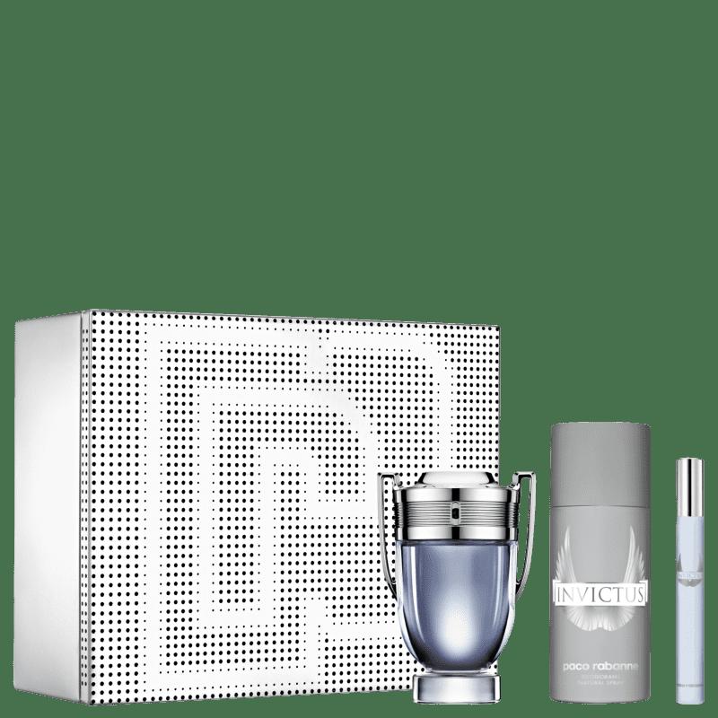 Conjunto Invictus Paco Rabanne Eau de Toilette 100ml + Desodorante 150ml + Travel Size 10ml