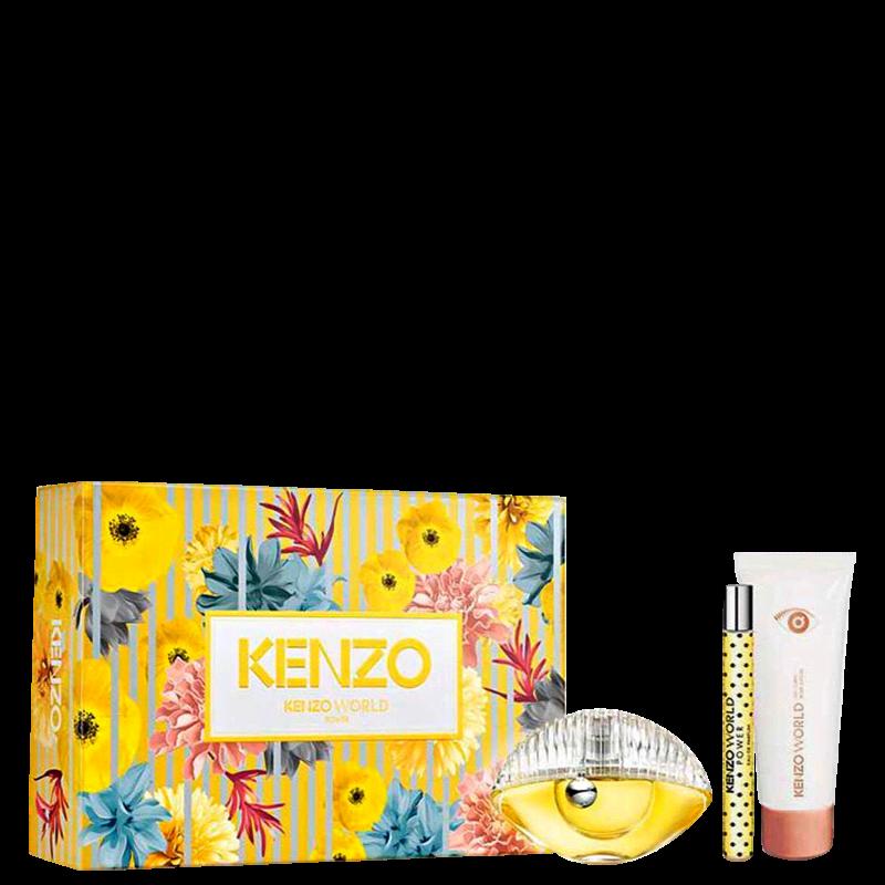 Conjunto Kenzo World Power Feminino - Eau de Parfum 50ml + Travel Size 10ml + Loção Corporal 75ml