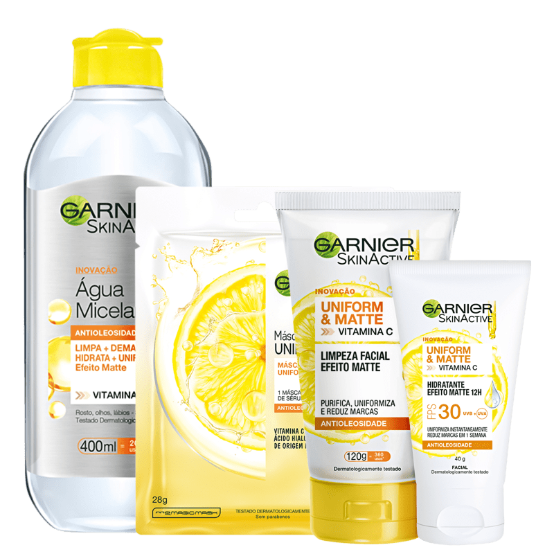 Kit Garnier SkinActive Uniform & Matte + Antioleosidade Vitamina C (4 Produtos)