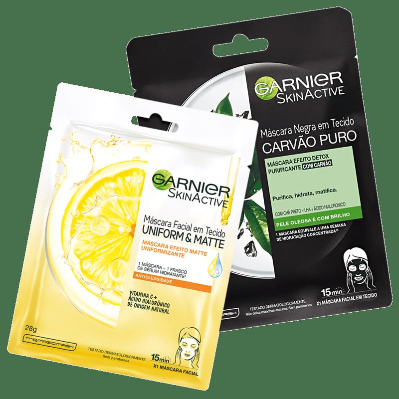 Kit Garnier SkinActive Vitamina C + Carvão Puro (2 Produtos)