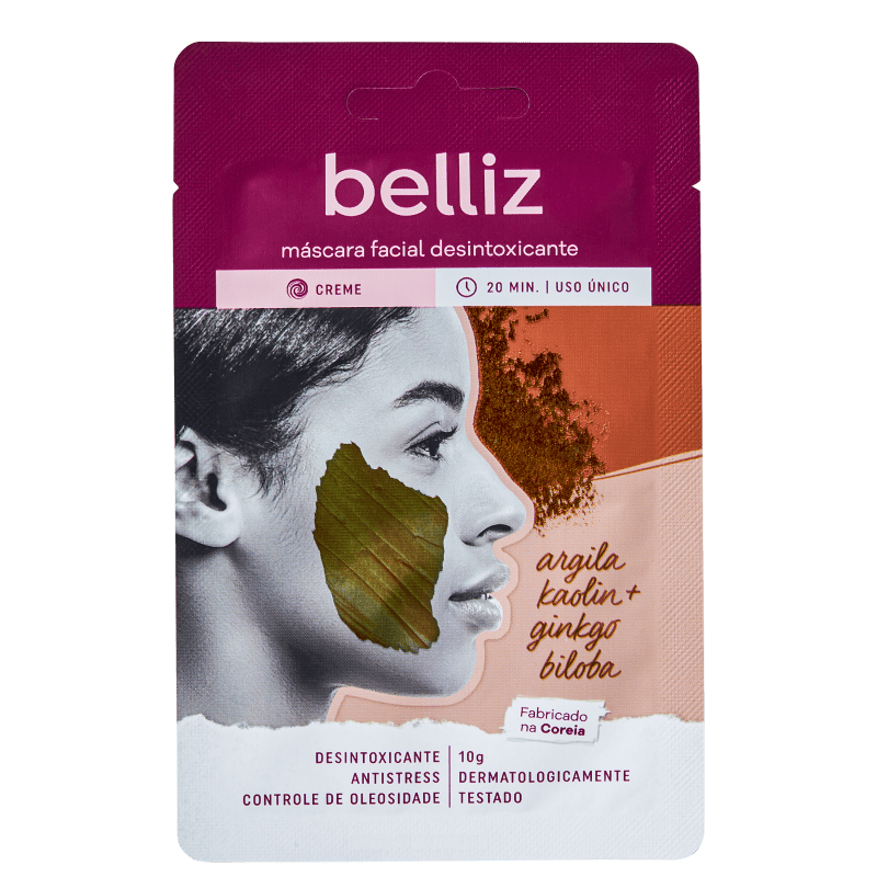 Belliz Desintoxicante Argila Kaolin + Ginkgo Biloba - Máscara Facial 10g