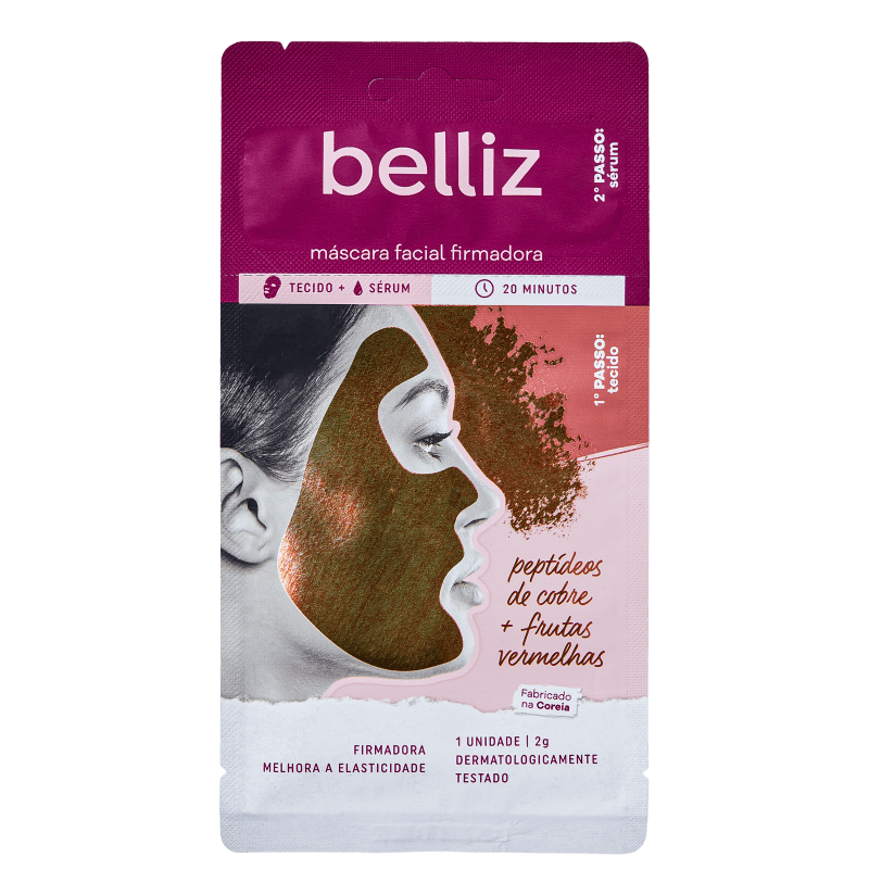 Belliz Firmadora Peptídeos de Cobre + Frutas Vermelhas - Máscara Facial 10g