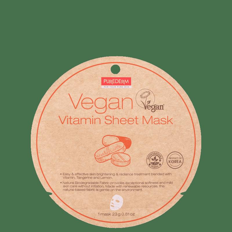 Purederm Vegan Vitamin Sheet - Máscara Facial 23g