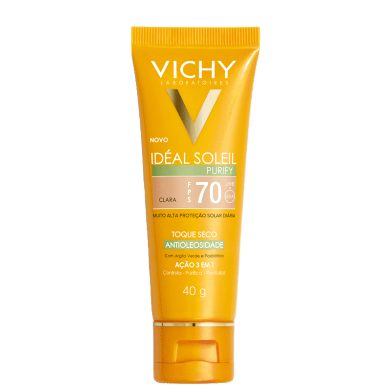 Vichy Idéal Soleil Purify FPS 70 Clara - Protetor Solar com Cor 40g