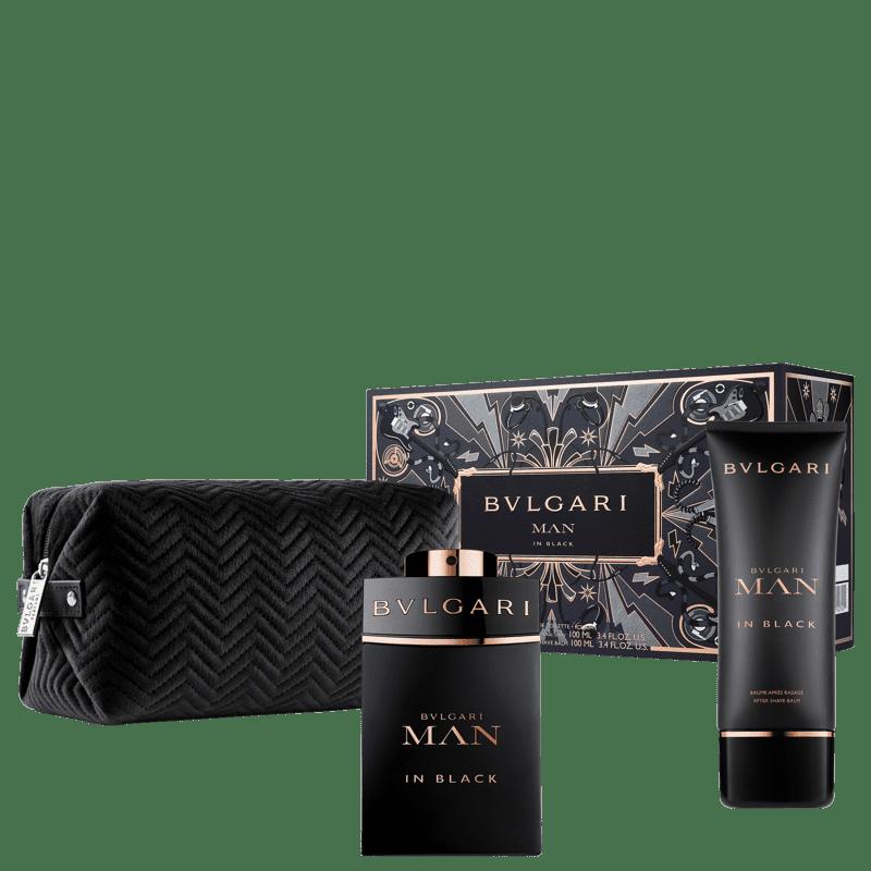 Conjunto Bvlgari Man in Black Masculino - Eau de Parfum 100ml + Pós-Barba 100ml + Nécessaire