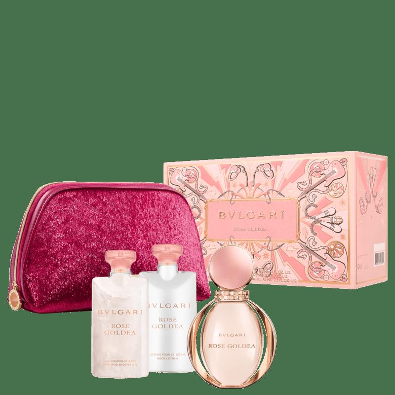 Conjunto Rose Goldea Bvlgari Feminino - Eau de Parfum 90ml + Gel de Banho 75ml + Loção Corporal 75ml + Nécessaire