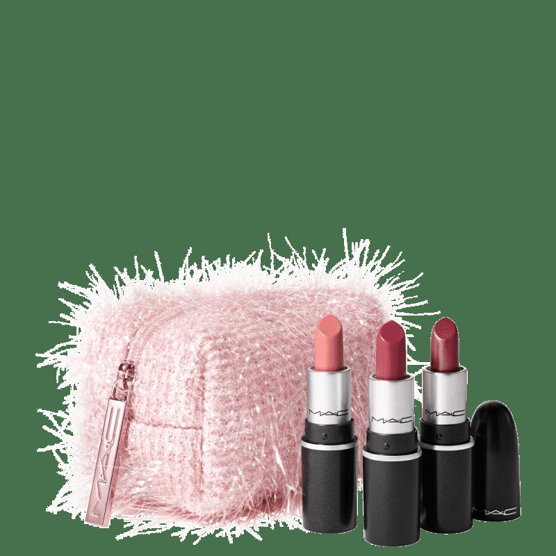 Kit M·A·C Frosted Firework Fireworked Like a Charm Lipstick Pink (4 Produtos)