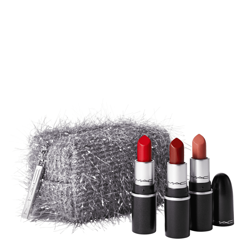 Kit M·A·C Frosted Firework Fireworked Like a Charm Lipstick Red (4 Produtos)