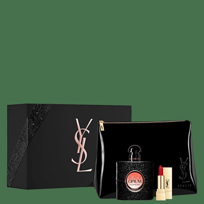 Conjunto Black Opium Yves Saint Laurent Feminino - Eau de Parfum 50ml + Minibatom + Nécessaire