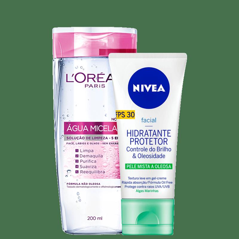 Kit Beleza na Web L'Oréal Paris Água Micelar + NIVEA Controle do Brilho & Oleosidade (2 Produtos)