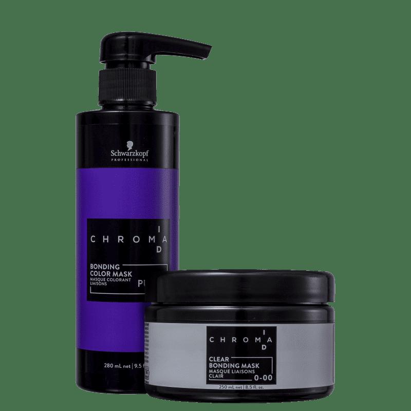 Kit Schwarzkopf Professional Chroma ID Bonding Mask Clear 0-00 + Intensa Purple (2 Produtos)
