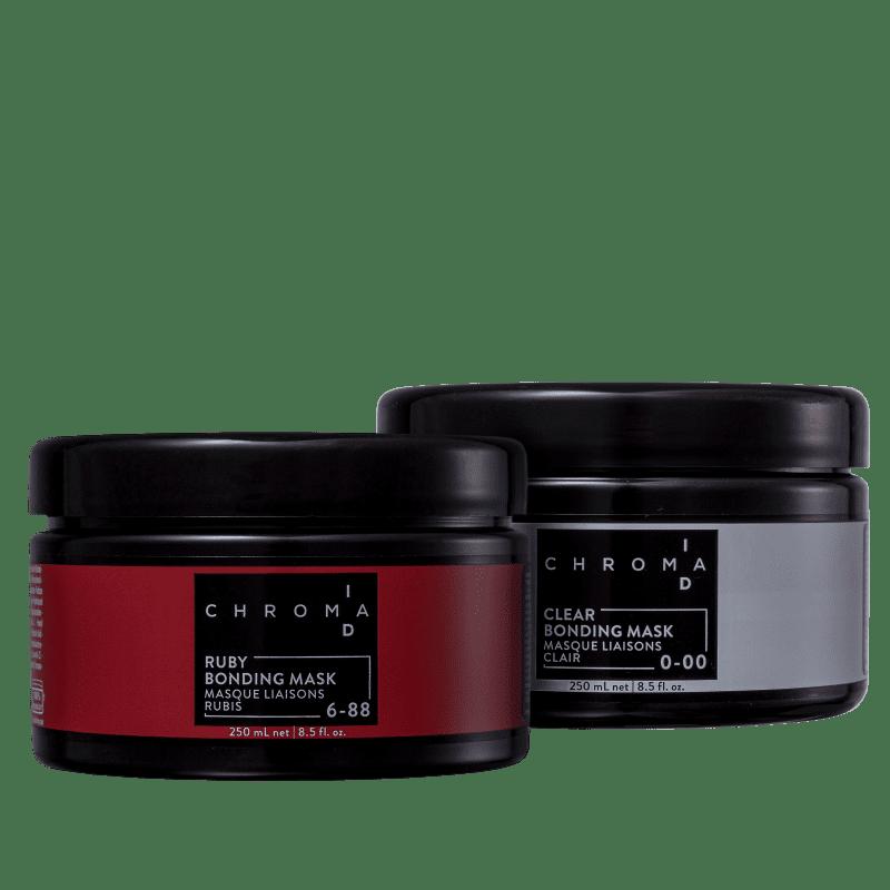 Kit Schwarzkopf Professional Chroma ID Bonding Mask Clear 0-00 + Ruby 6-88 (2 Produtos)