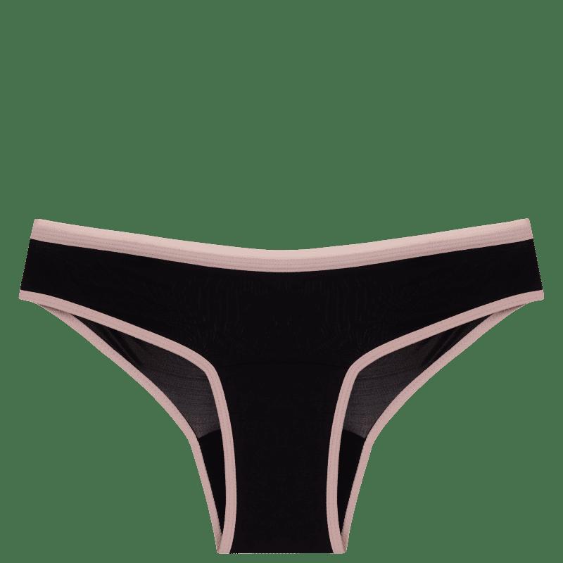 Calcinha Absorvente Pantys Comfy Fluxo Moderado Preta e Rosa P