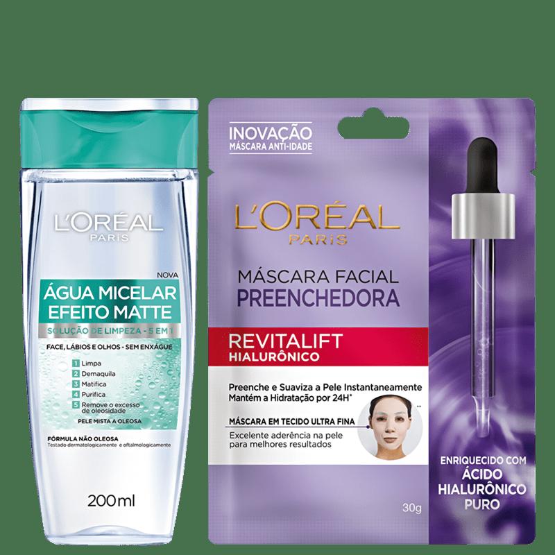 Kit L'Oréal Paris Água Micelar & Máscara Facial (2 produtos)