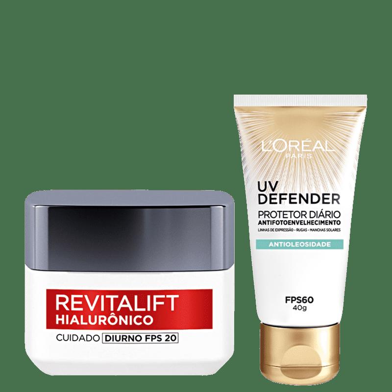 Kit L'Oréal Paris UV Defender & Hialurônico (2 produtos)