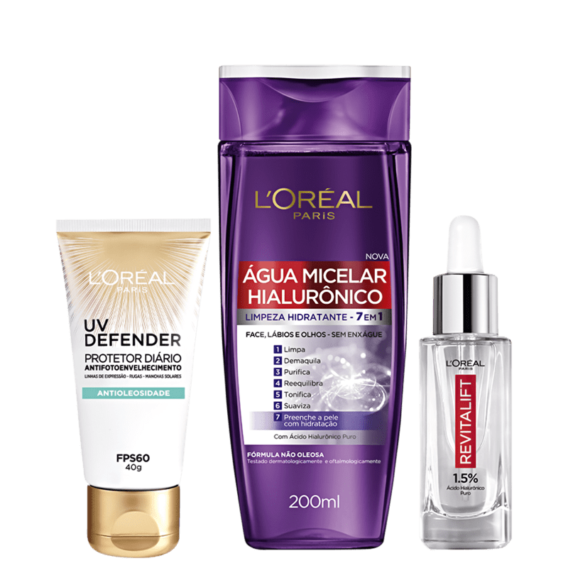 Kit L'Oréal Paris Hialurônico & UV Defender (3 produtos)