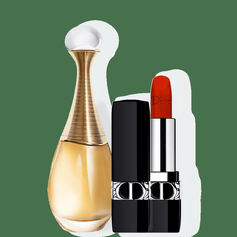 Conjunto Dior J'adore Velvet Feminino - Eau de Parfum 50ml + Batom Aveludado 3,5g