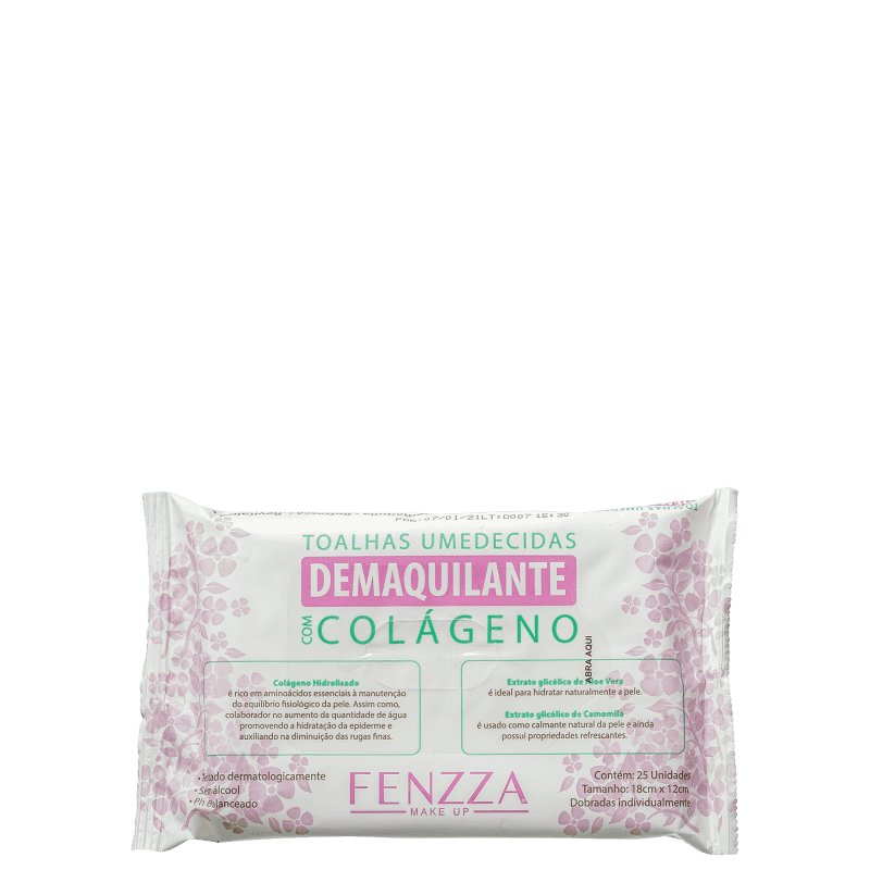 Fenzza Make Up Colágeno - Lenço Demaquilante (25 Unidades)