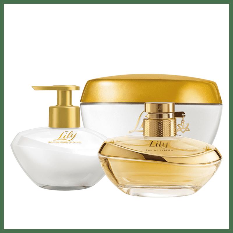 Combo Lily: Eau de Parfum + Creme Acetinado Hidratante Desodorante Corporal+ Sabonete Líquido Mãos
