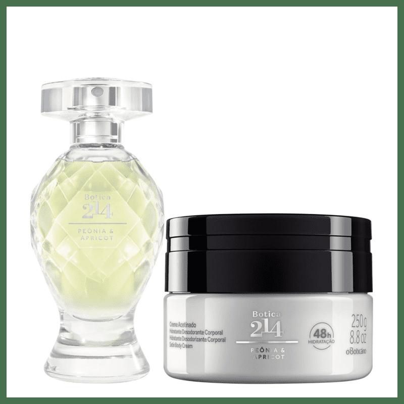 Combo Botica 214 Peônia & Apricot: Eau De Parfum 75ml + Creme Acetinado Desodorante Hidratante 250g