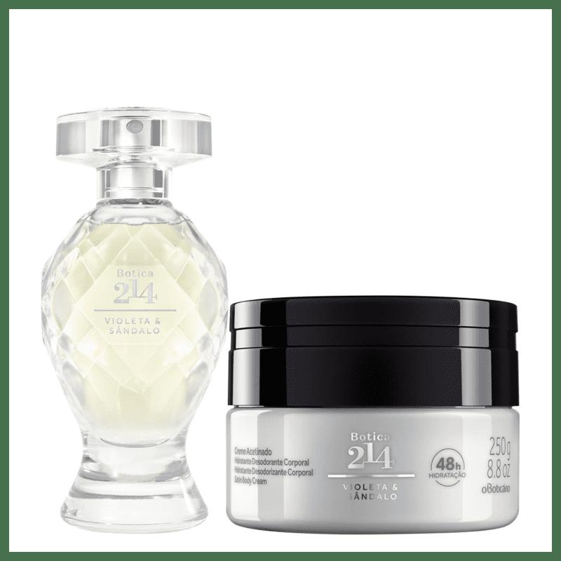 Combo Botica 214 Violeta & Sândalo: Eau De Parfum 75ml + Creme Acetinado Desodorante Hidratante 250g