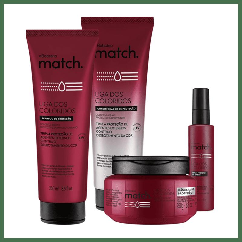 Combo Match Liga dos Coloridos: Shampoo + Condicionador + Sérum Protetor + Máscara de Proteção