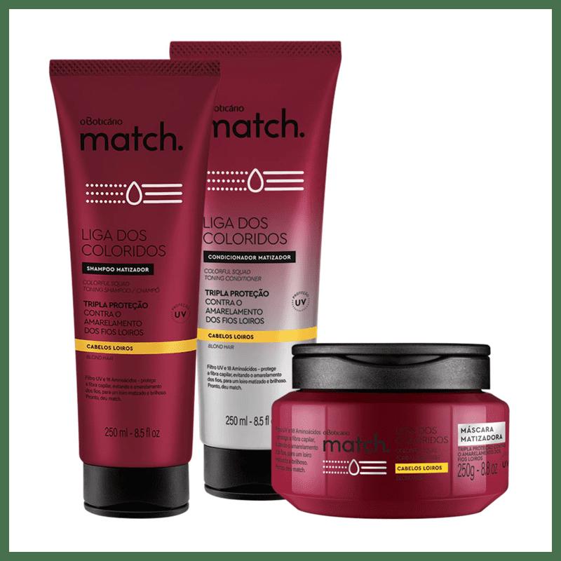 Combo Match Matizador Completo: Shampoo + Condicionador + Máscara Capilar