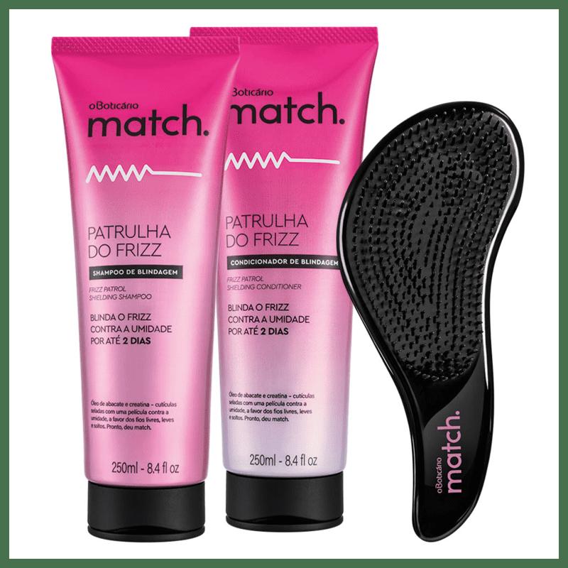 Combo Match Patrulha do Frizz: Shampoo + Condicionador + Escova para Desembaraçar