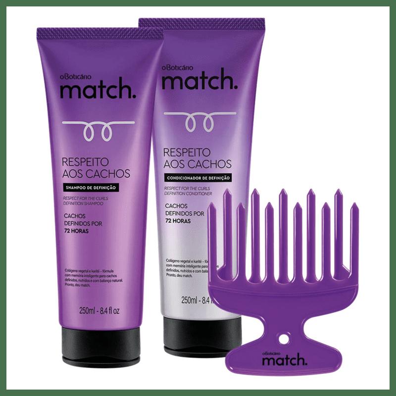 Combo Match Cachos: Pente para Cachos + Shampoo + Condicionador