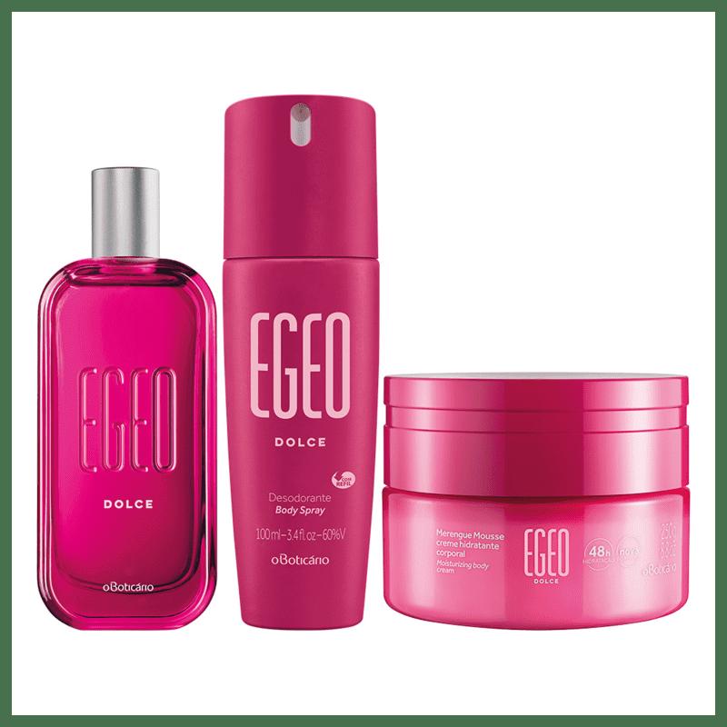 Combo Egeo Dolce: Desodorante Colônia 90ml + Merengue Hidratante Desodorante 250g + Body Spray 100ml