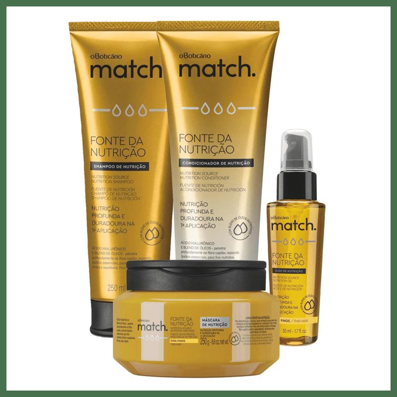 Combo Match Fonte da Nutrição Fios Finos: Shampoo + Condicionador + Máscara Capilar + Oleo Capilar