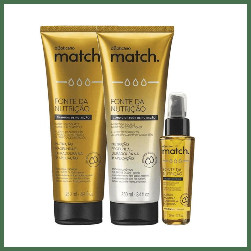 Combo Match Fonte Da Nutrição Fios Finos: Shampoo + Condicionador + Óleo Capilar