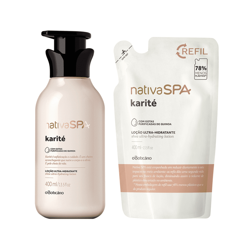 Combo Nativa Spa Karité: Loção Desodorante Hidratante Corporal + Refil