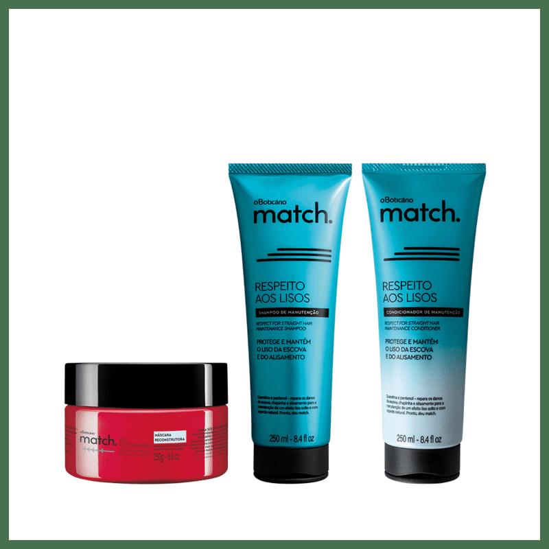Combo Match Respeito Aos Lisos + Sos Reconstrução: Shampoo, 250ml + Condicionador, 250ml + Máscara Capilar, 250g