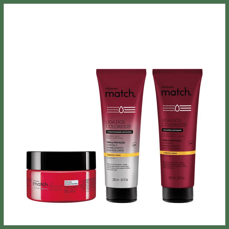 Combo Match Matizador Loiros + Sos Reconstrução: Shampoo, 250ml + Condicionador 250ml + Máscara Capilar, 250g