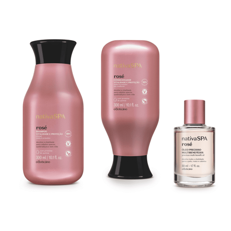 Combo Nativa Spa Rosé: Shampoo, 300 ml + Condicionador, 300 ml + Óleo Precioso Multibenefícios, 50 ml