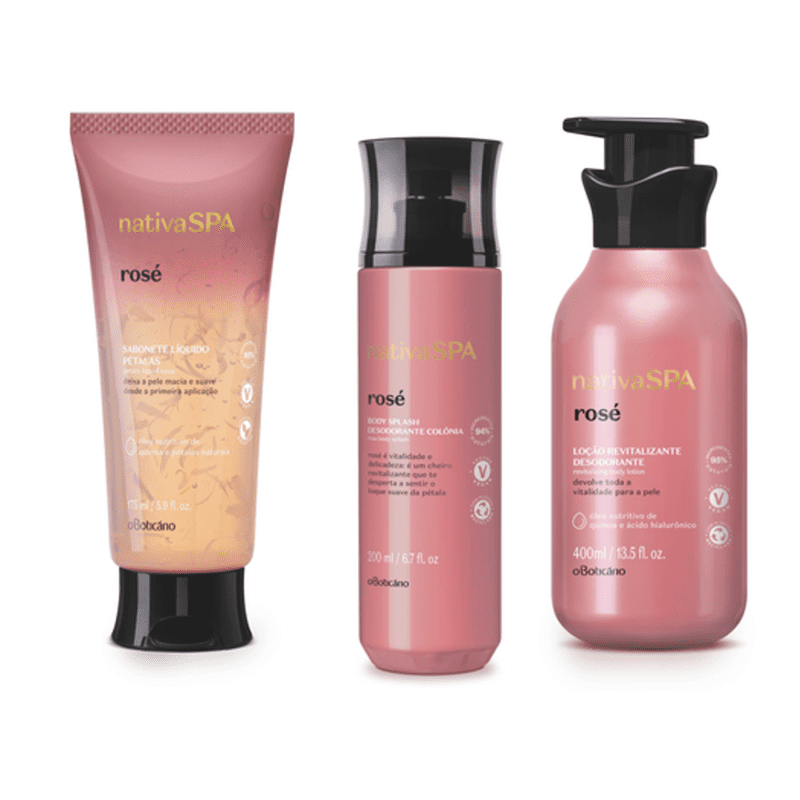 Combo Nativa Spa Rosé: Sabonete Líquido Corporal, 175 ml + Body Splash, 200 ml + Loção Revitalizante Corporal, 400 ml