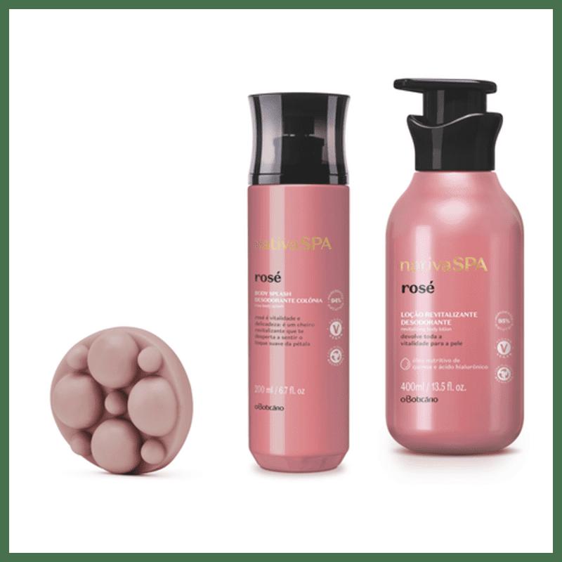 Combo Nativa Spa Rosé: Sabonete Em Barra Massa geador, 90 g + Body Splash, 200 ml + Loção Revitalizante Corporal, 400 ml