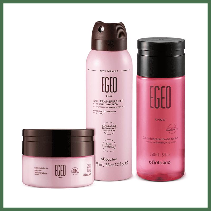 Combo Egeo Choc: Desodorante Antitranspirante Aerosol, 75g/125 ml + Calda Hidratante De Banho, 150 ml + Hidratante Corporal Suflê, 250g