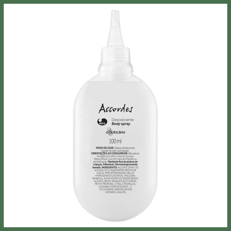 Refil Desodorante Body Spray Accordes, 100ml