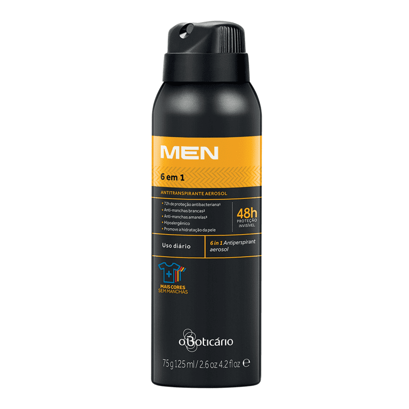 Desodorante Antitranspirante Aerosol 6 em 1 MEN, 75g