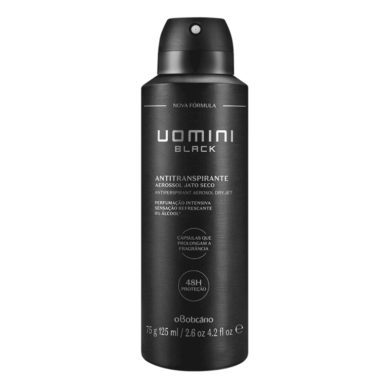 Desodorante Antitranspirante Aerosol Uomini Black, 75g/125ml