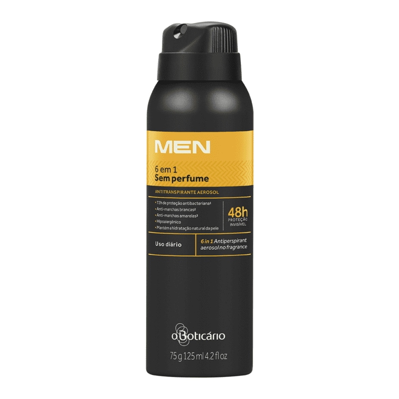 Desodorante Antitranspirante Aerosol Sem Perfume 6 em 1 MEN 75g